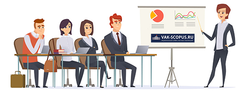 Business presentation characters. Group of managers sitting in classroom listening learning couch business seminar vector concept